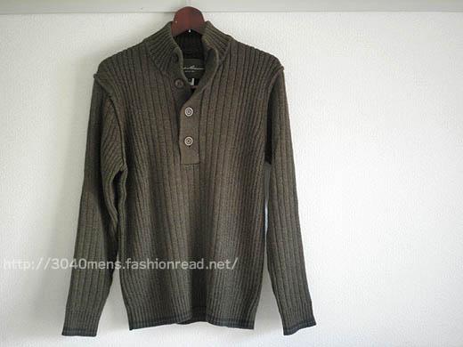 エディー・バウアーの長袖コットンボタンモックネックカジュアルセーター
