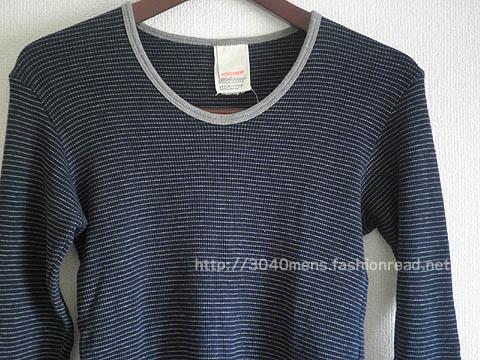 Horizon dream(ホライゾンドリーム)ワッフルピンボーダーのUネック長袖Tシャツ